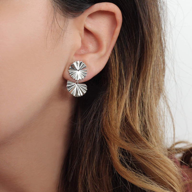 sterling silver asymetric earrings with flower