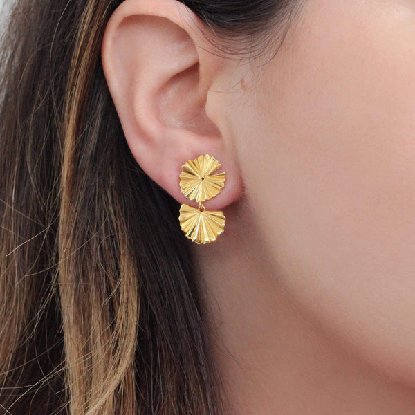 sterling silver with 18ct gold flower earrings