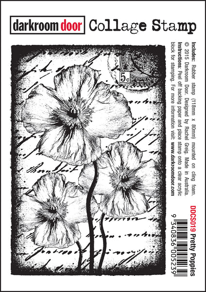 Darkroom Door Collage Stamp Pretty Poppies