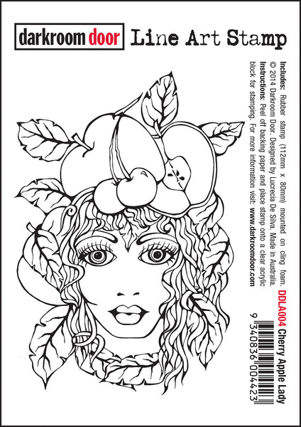 Darkroom Door Line Art Stamp Cherry Apple Lady