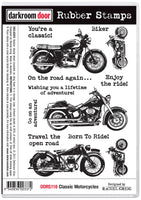 Darkroom Door Rubber Stamp set Classic Motorcycles