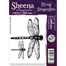 Sheena Douglas Cling Stamp Flying Dragonflies