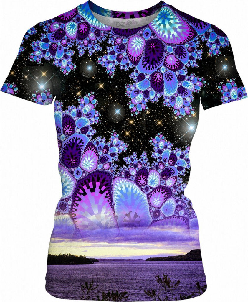 Purple Diamonds Sky Womens T-Shirt