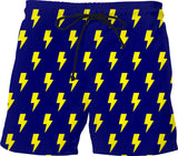 Yellow Lightning Bolts Blue Shorts - GetRealFunky.com