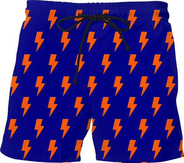 Orange Lightning Bolts Blue Shorts - GetRealFunky.com