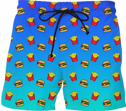 Burger and Fries Blue Ombre Swim Shorts - GetRealFunky.com