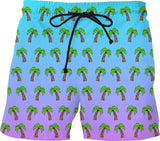Palm Trees - Blue & Purple Ombre Swim Shorts - GetRealFunky.com