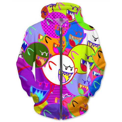 Ghosty Zip-Up Unisex Hoodie - GetRealFunky.com