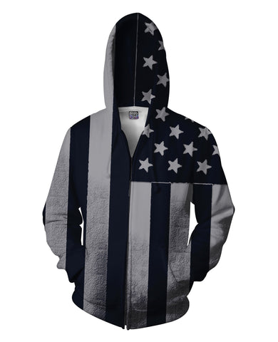 Black 'n White American Flag Zip-Up Unisex Hoodie - Sweet Satisfaction