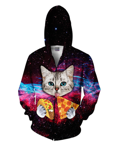 Hungry Tripping Space Cat Zip-Up Unisex Hoodie - GetRealFunky.com