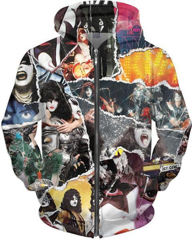 KISS Collage Unisex Zip Hoodie - Sweet Satisfaction