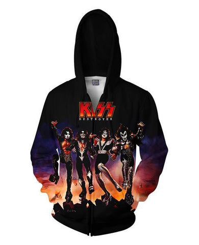 KISS Destroyer Unisex Zip Hoodie