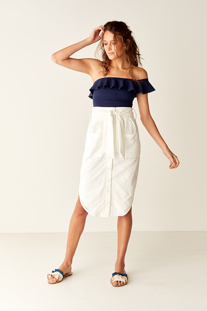 Belted Midi Skirt - WHITE