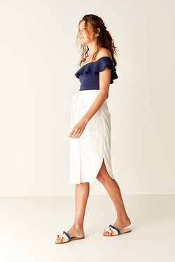 Ruffled One Shoulder Top - NAVY