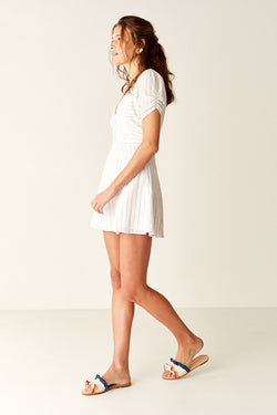 Button Front Mini Dress - WHITE STRIPE