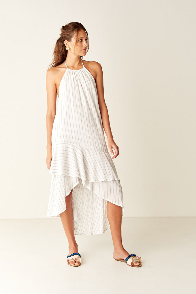 Stripe Halter Maxi Dress - WHITE STRIPE