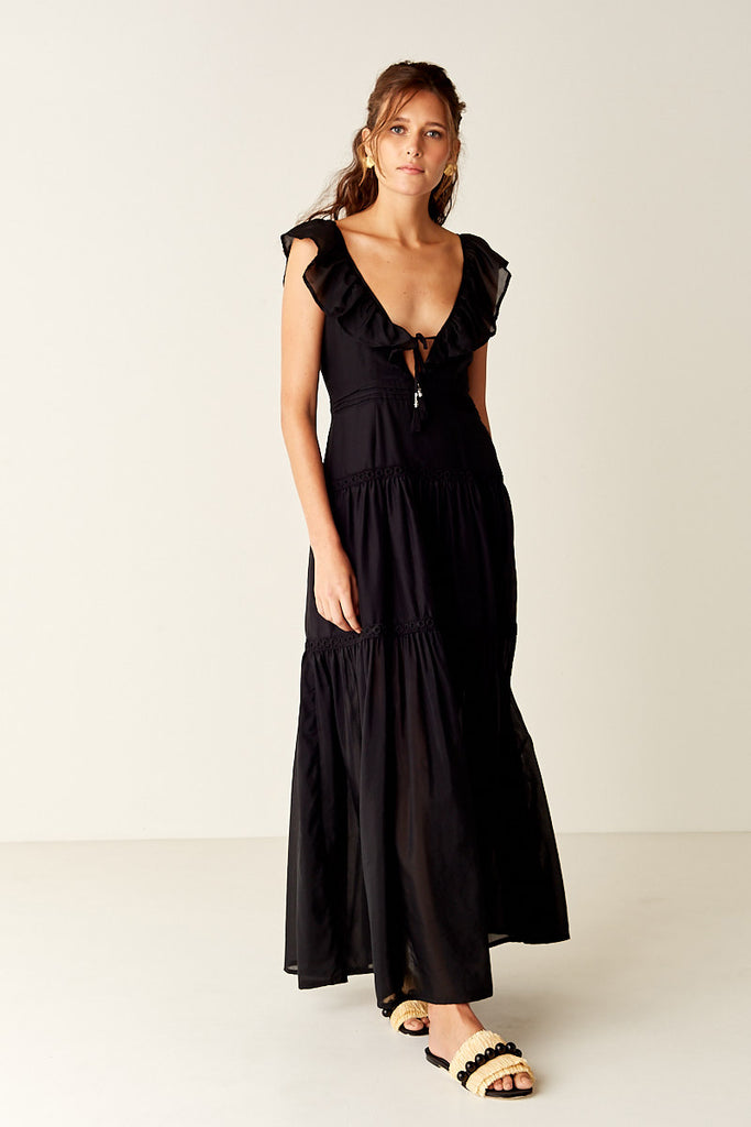 Ruffled Maxi Dress - Black