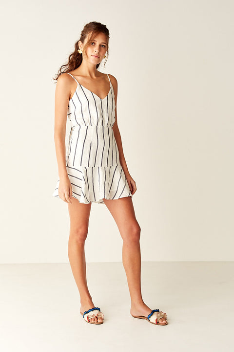 Tie Back Mini Dress - WHT/BLK STRIPE