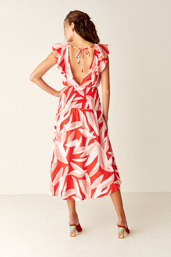 Shirred Maxi Dress - Red Leaf