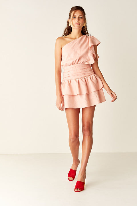 One Shoulder Mini Dress - PALE PINK