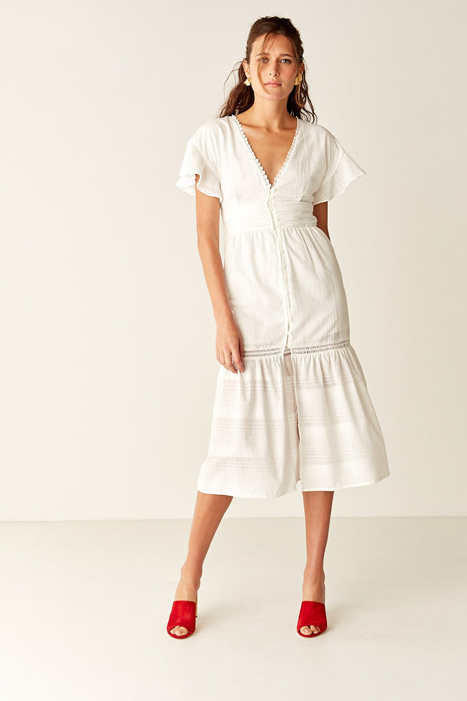 Button Front Midi Dress - WHITE