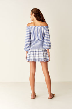 Shirred Off Shoulder Mini Dress - Blue / White Stripe