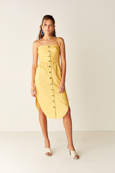 Button Front Sundress - YELLOW