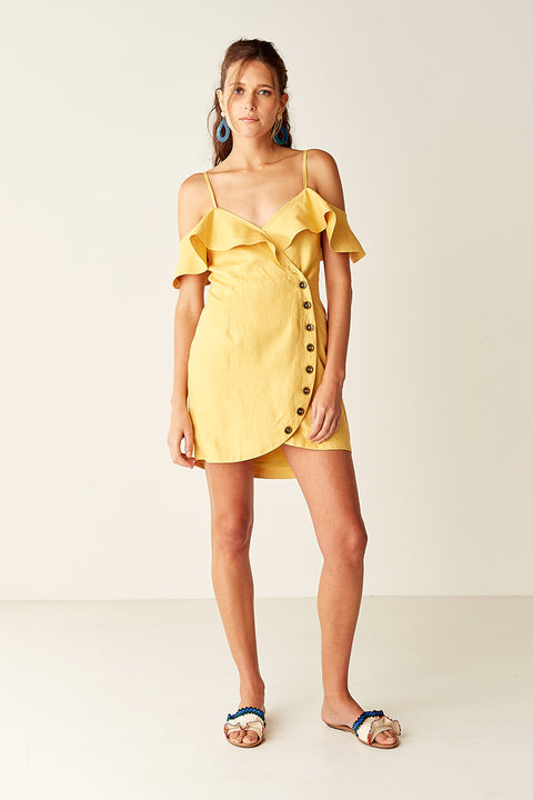 Wrap Mini Dress - YELLOW
