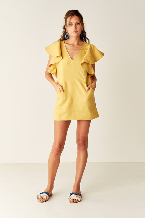 Ruffled Kaftan - YELLOW