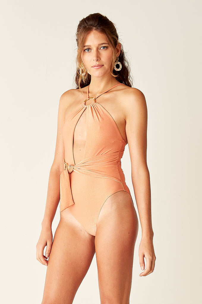 Ring Detail One Piece - Coral