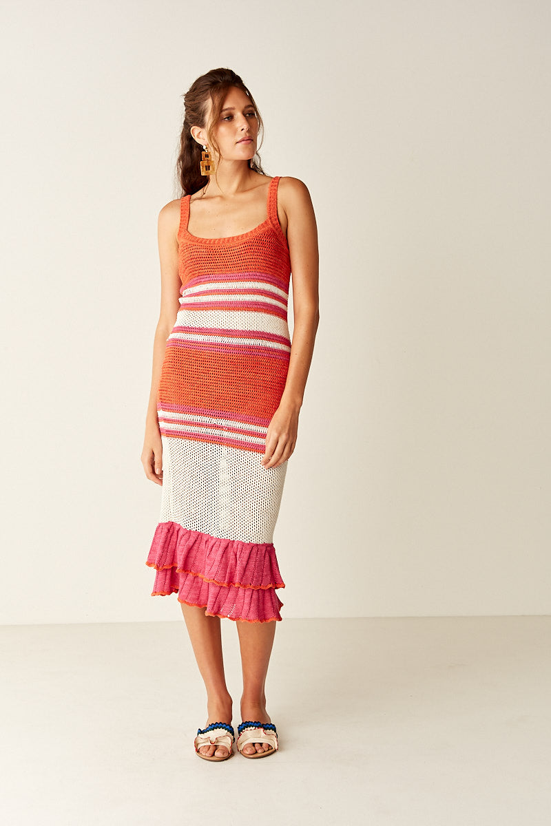 Ruffle Knitted Midi Dress - Multi Stripe