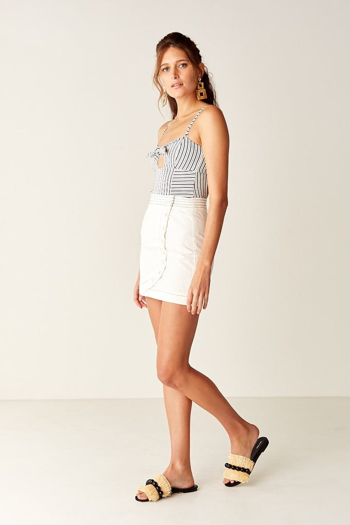 Button Front Mini Skirt - WHITE