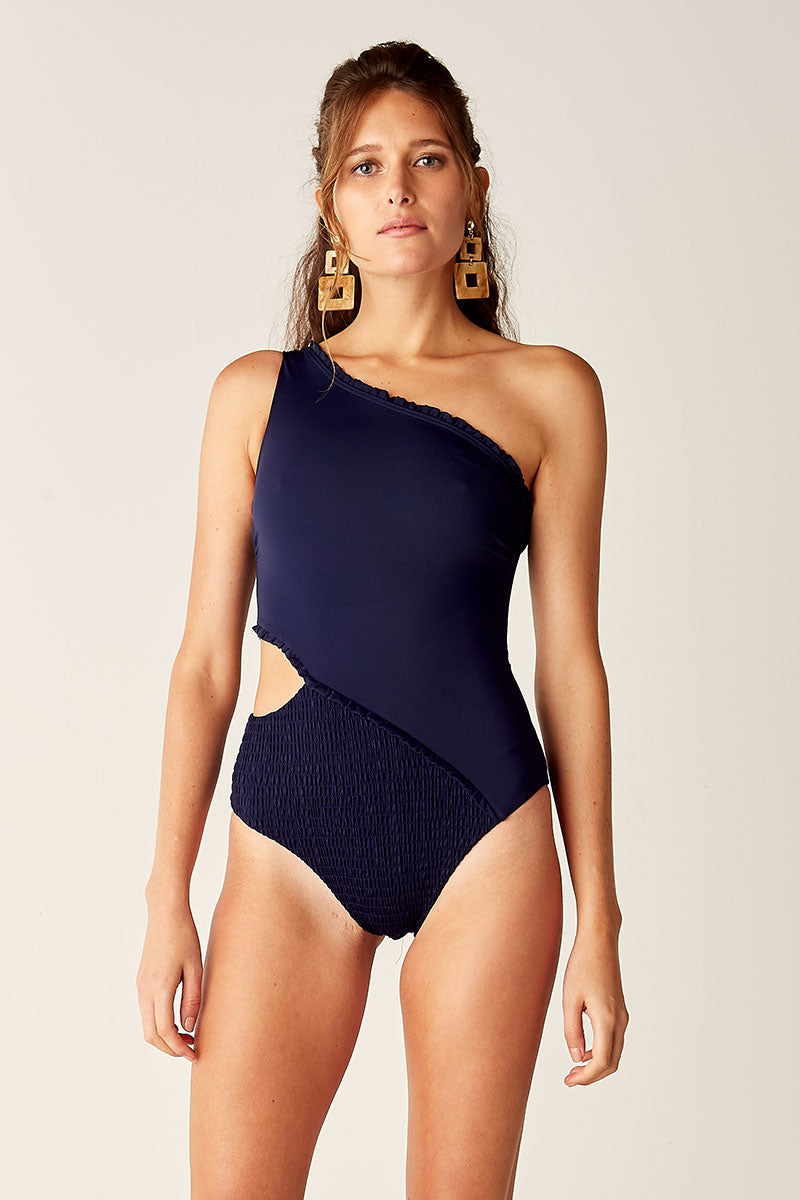 Shirred Cut Out One Pce - NAVY