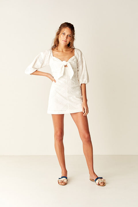 Tie Front Mini Dress - WHITE
