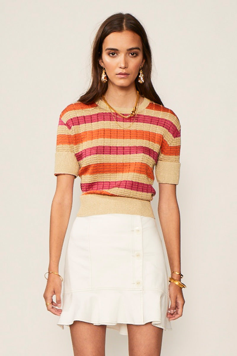 Jacquelyn Stripe Crop Sleeve Jumper