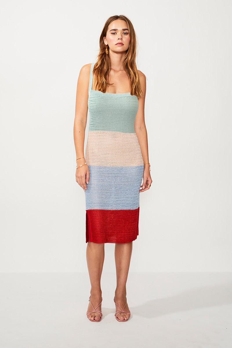 Lucy Knitted Wide Stripe Midi Dress - Multi