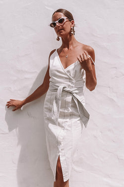 Belted Midi Wrap Dress - WHITE
