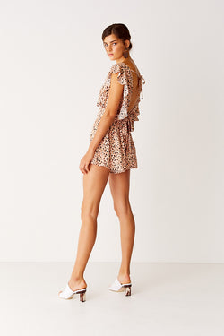 Ruffled Playsuit - Leopard