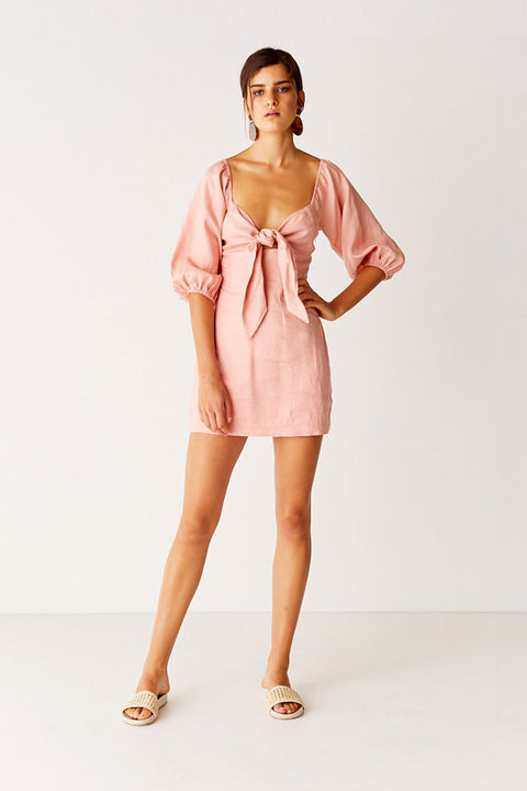 Tie Front Mini Dress - Dusty Pink