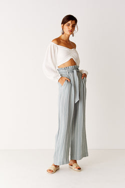 Wide Leg Pant - Green/White Stripe