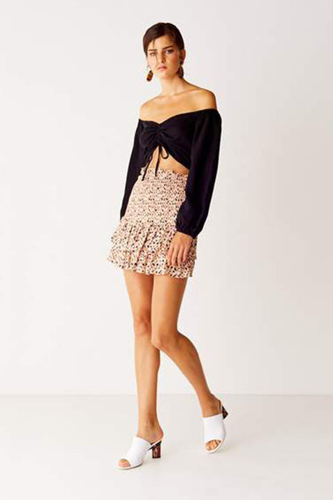 Shirred Mini Skirt - Leopard