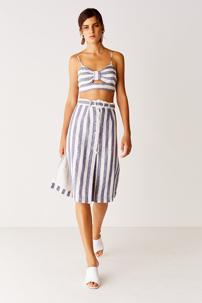 Midi Skirt - Navy Stripe