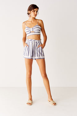 Tie Back Crop Top - Navy Stripe
