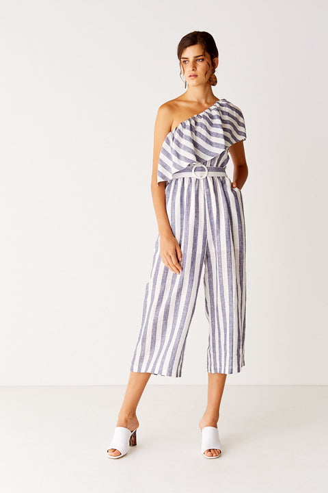 One Shoulder Cropped Jumpsuit - Navy Stripe