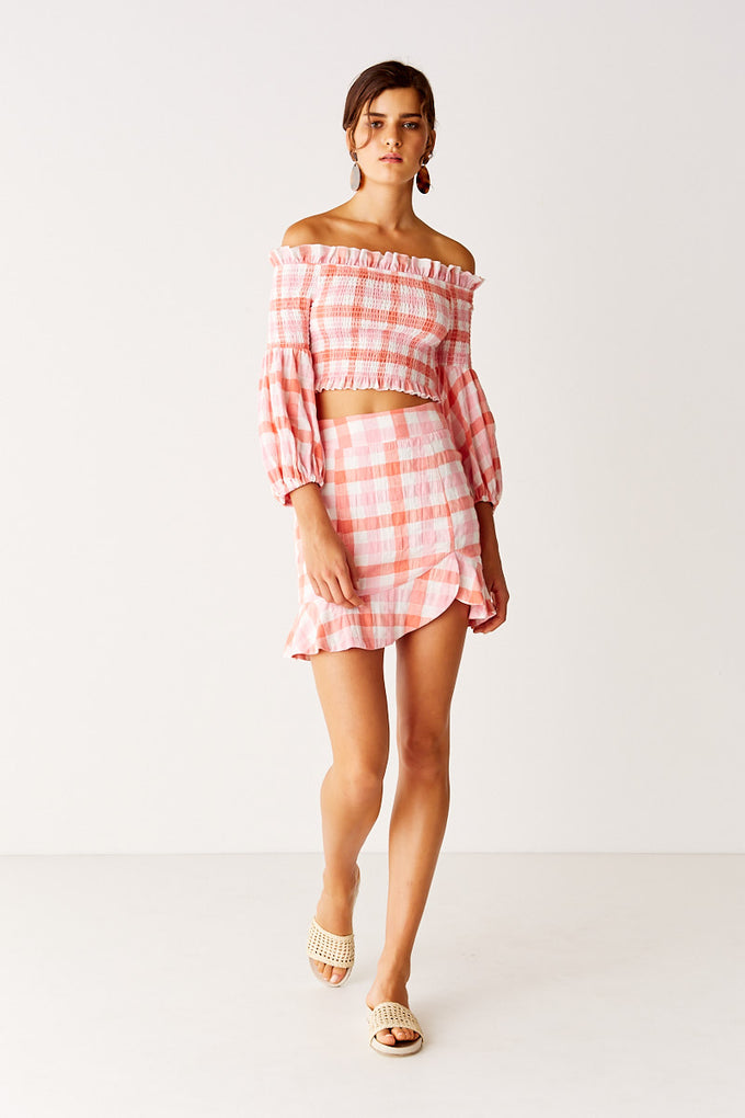 Shirred Sleeve Top - Pink Check