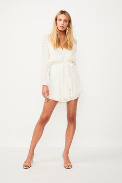 Alchemy Lurex Belted Mini Dress - Cream / Gold
