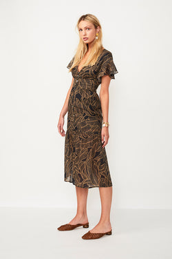 Zephora Button Front Midi Dress - Zephora Print