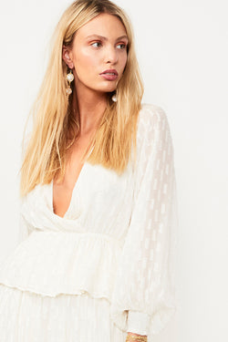 Alchemy Lurex Wrap Front Blouse - Cream / Gold