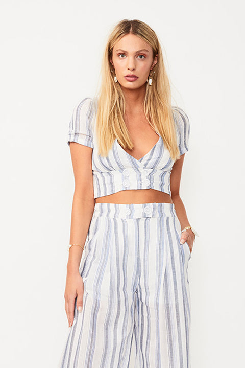 Shoreline Crop Top - Wht/Blue Stripe