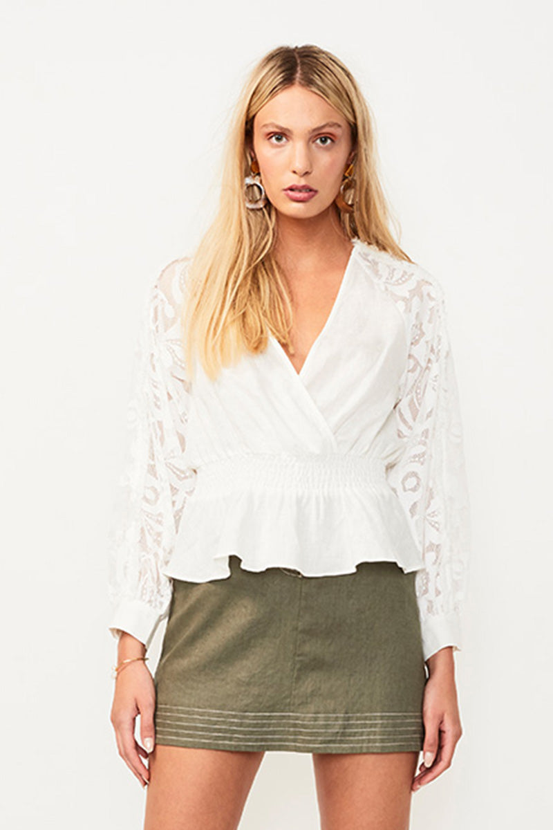 Novella Lace Insert Wrap Blouse - White